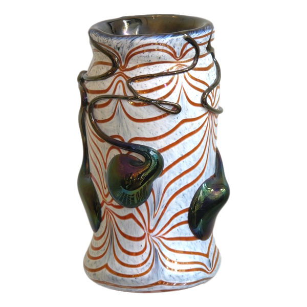 Sergio Rossi 1970s Modern Abstract Murano Glass Vase in White Red and Black