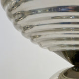 Flos 1960s Silver Tone Pair of Castiglioni Round Polished Aluminum Table Lamps