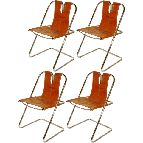 1960s Italian Set of Four Hand-Stitched Leather and Chrome Chairs - Cosulich Interiors & Antiques