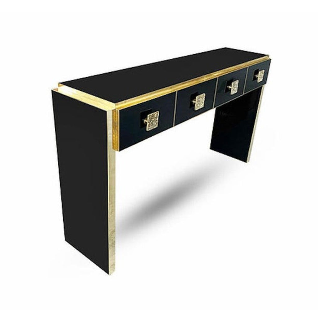Bespoke Italian Art Deco Design Black Glass & Cast Brass Console Table/Sideboard