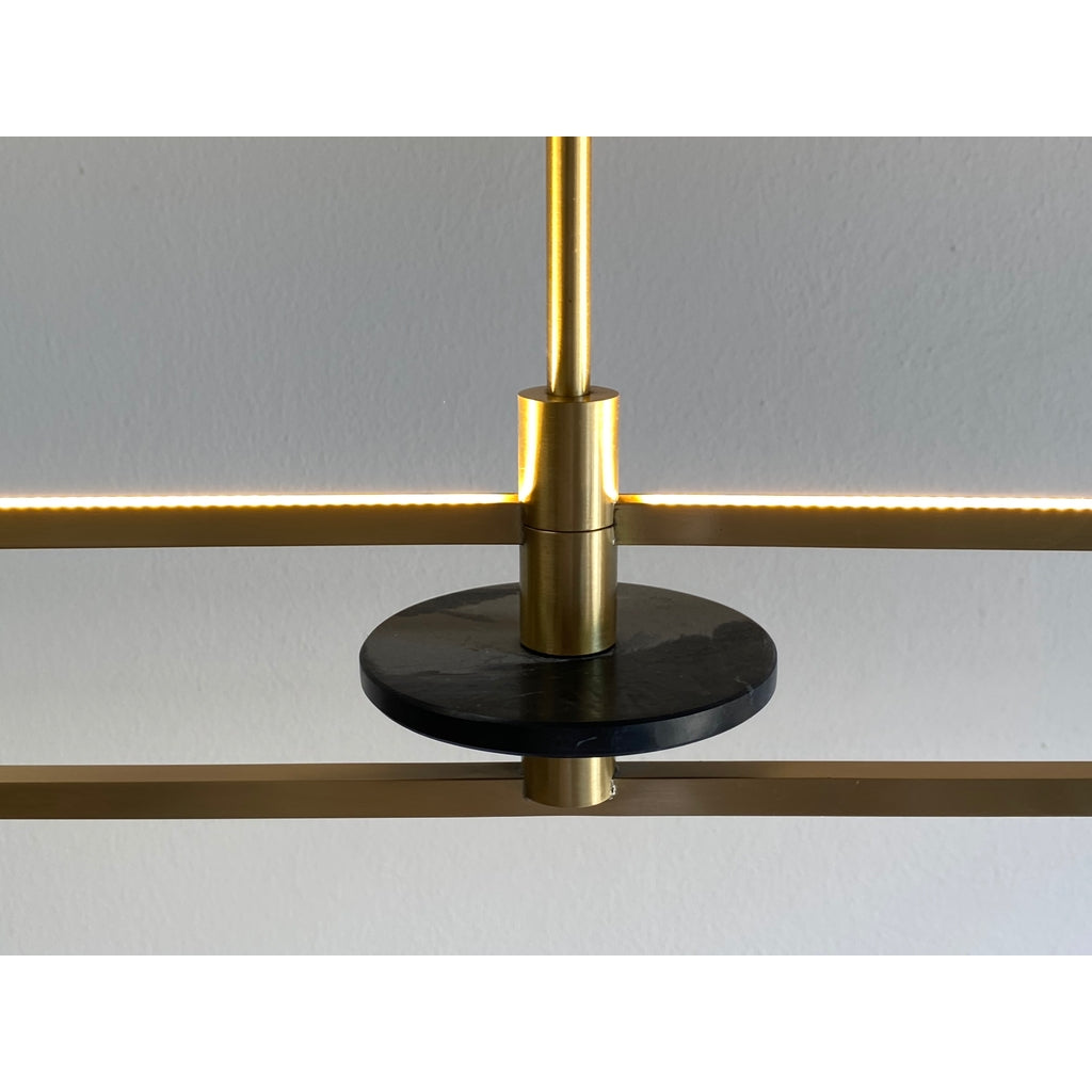Contemporary Minimalist Geometric Black Marble Satin Brass Chandelier/Pendant