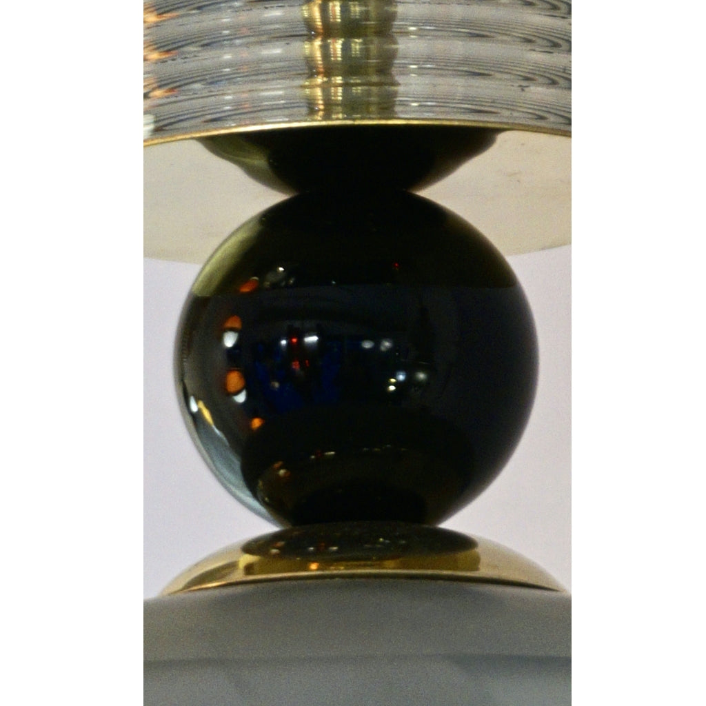 Contemporary Modern Crystal Black and Alabaster Murano Glass Brass Pendant Light
