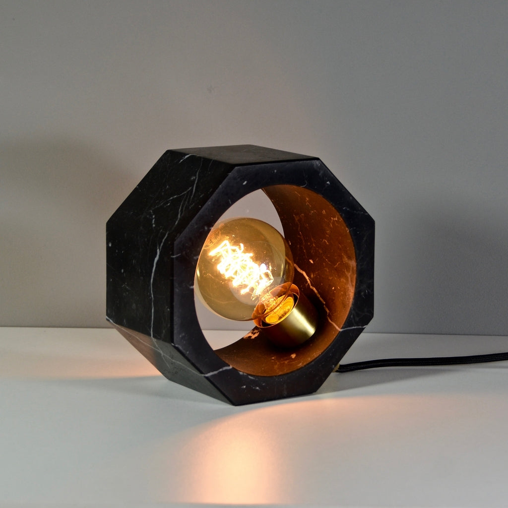 Contemporary Matlight Essential Octagon Minimalist Table Lamp in Black Marble