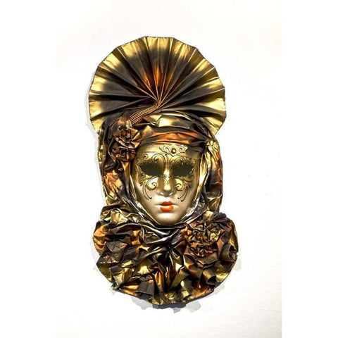 Italian Modern Venetian Carnival Handmade Orange and Gold Mask with Flower Pleated Jabot