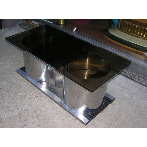 1970s Italian Smoked Glass Coffee Table with Dry Bar