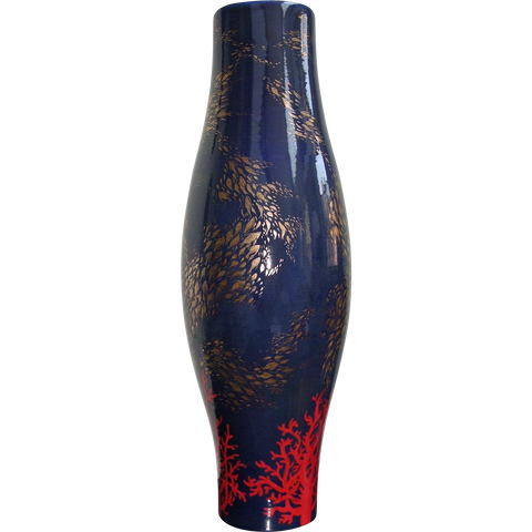 Modern Italian Monumental Gold Red Blue Vase by Ceramica Gatti with Sea Deco - Cosulich Interiors & Antiques