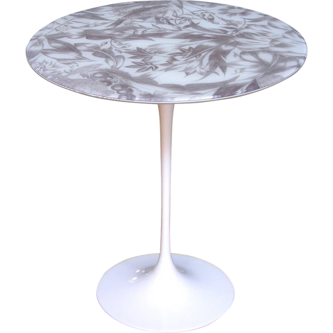 1960s Italian White Round Table with Laminated Gray Painted Fabric Top - Cosulich Interiors & Antiques