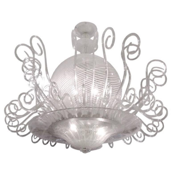 1950s Rare Venini Chandelier in White Reticello