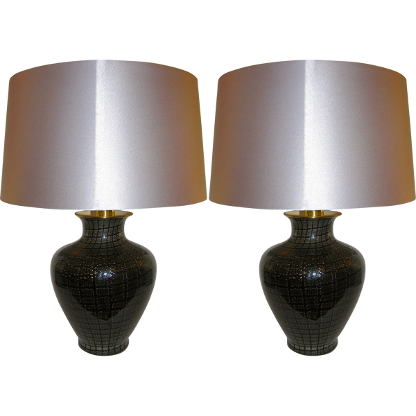 VeArt 1960s Pair of Black Glass Lamps with Speckles - Cosulich Interiors & Antiques
