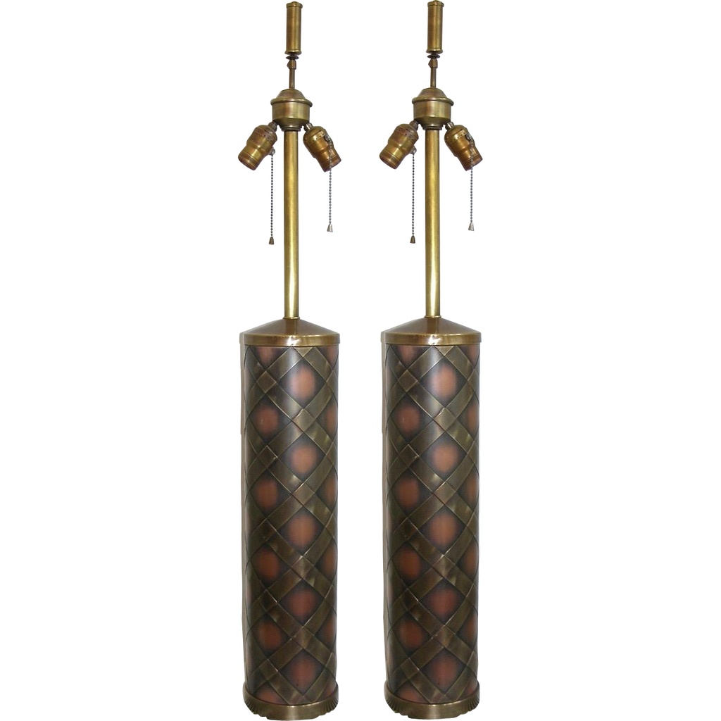 1950s Very Attractive Vintage Pair of Copper and Brass Lamps - Cosulich Interiors & Antiques