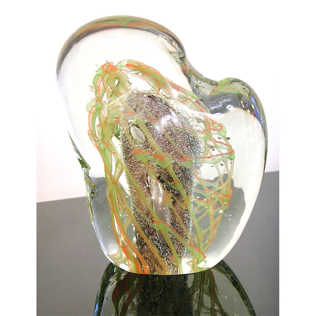 Salviati Vintage Green Orange Purple Crystal Murano Glass Sculpture Work of Art