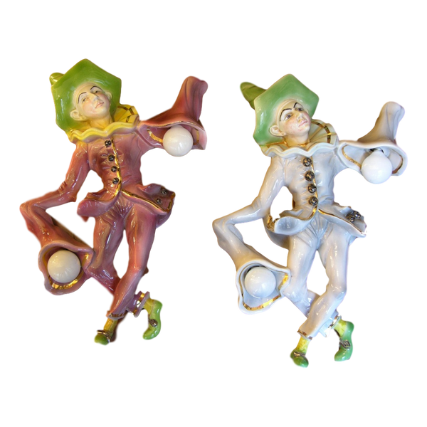 1950s Fun Italian Pulcinella Ceramic Wall Lights - Cosulich Interiors & Antiques