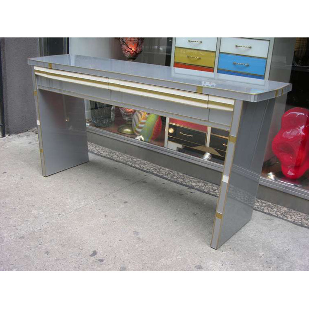 1970s Vintage Italian Design Silver White and Gold Glass Console with Drawers