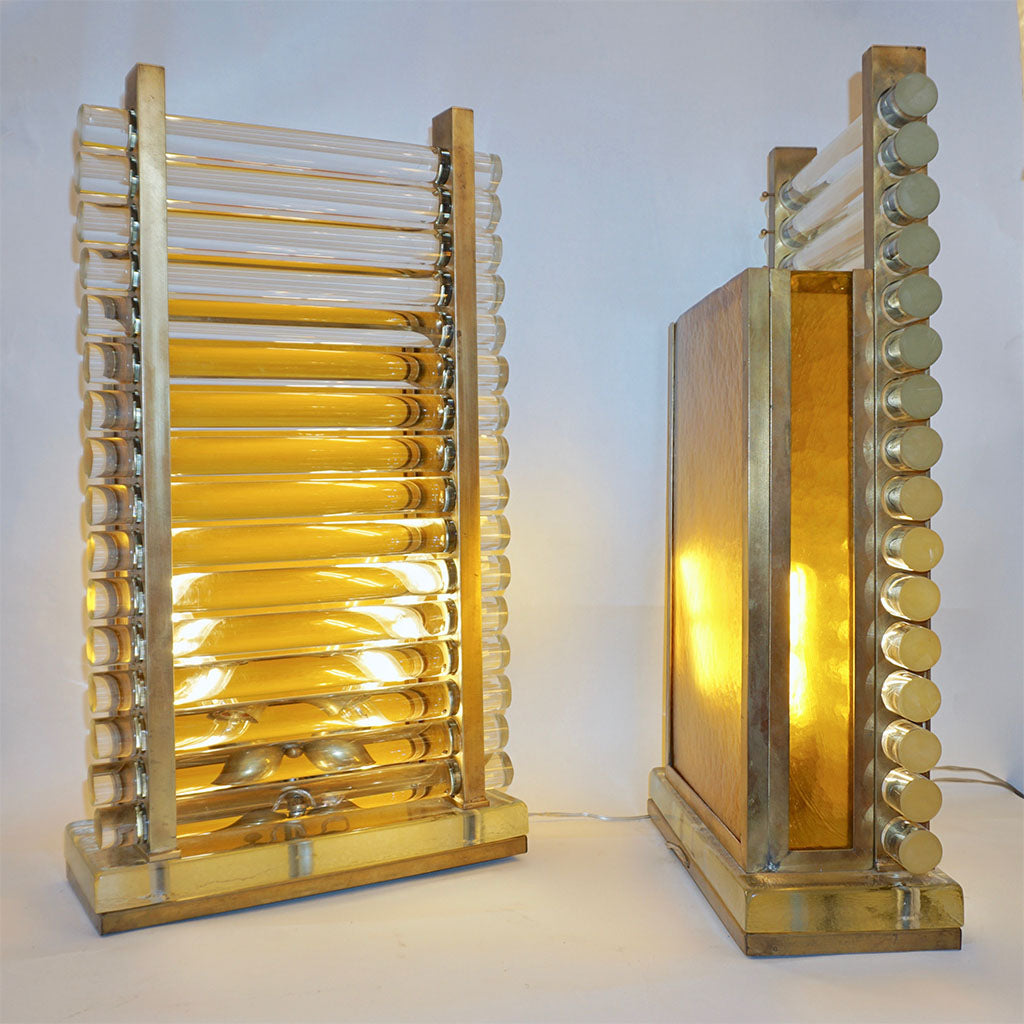 1970s Italian Post Modern Pair of Gold Brass & Crystal Glass Urban Design Lamps