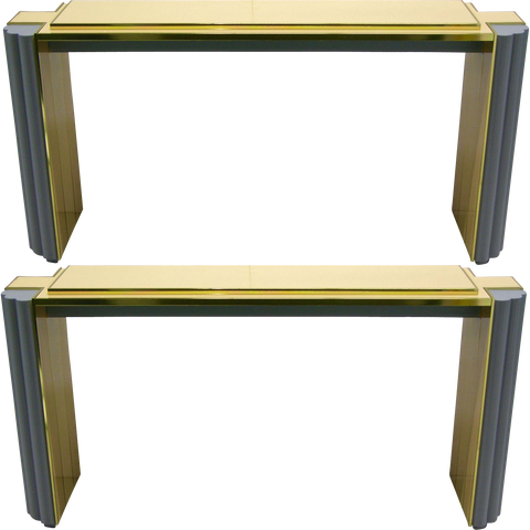 1970s Pair of Alain Delon for Maison Jansen Console Tables - Cosulich Interiors & Antiques