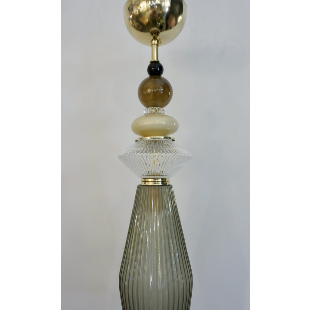 Custom Italian Crystal Gold and Gray Green Murano Glass Pendant Light