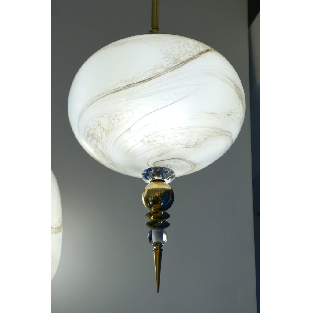 Bespoke Italian Brass and Cream White Alabaster Murano Glass Oval Pendant Light