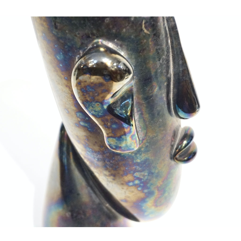 Italian Modernist Black Iridescent Murano Glass Sculpture in the Shape of a Head
