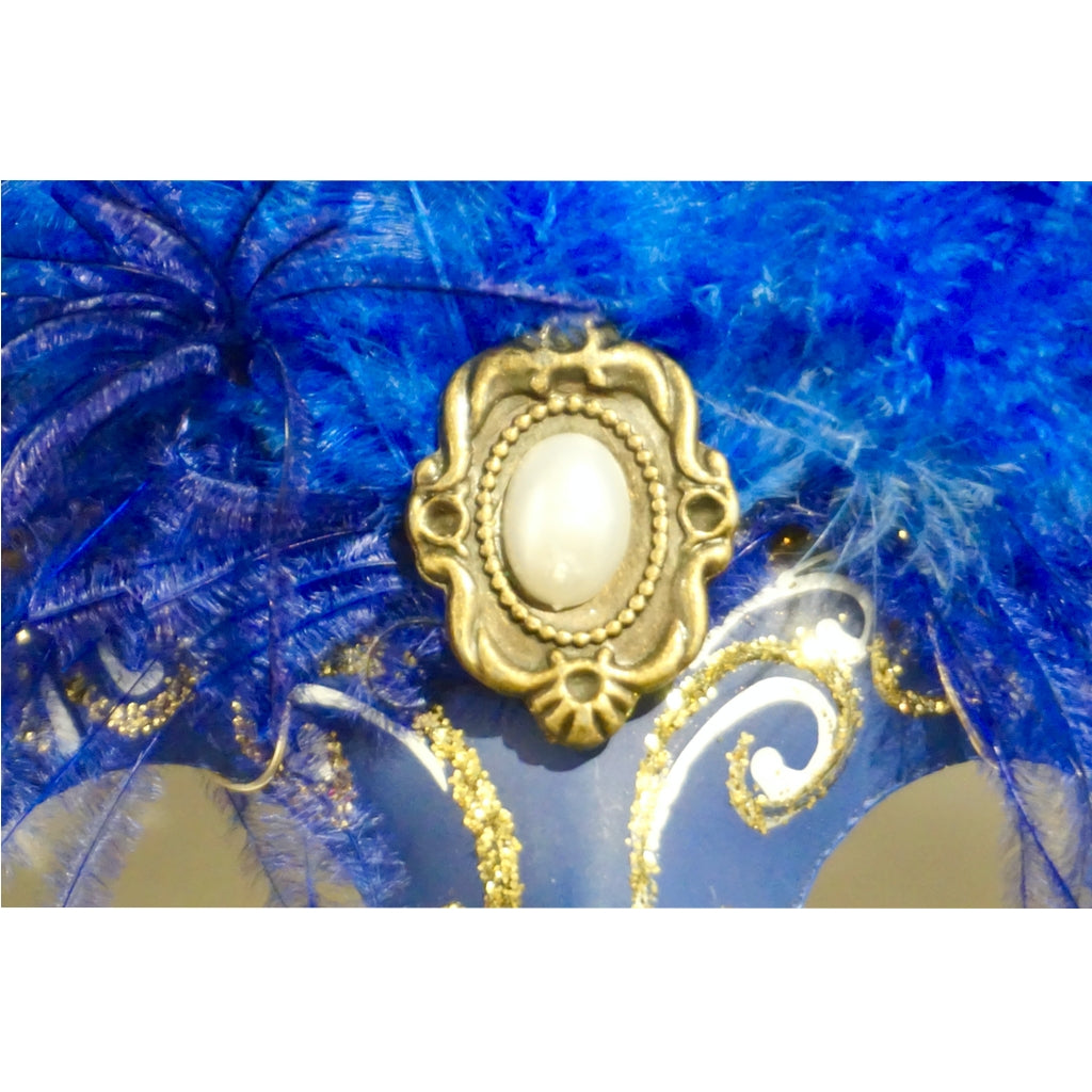 Italian Modern Venetian Handmade Blue and Gold Carnival Mask with Feathers