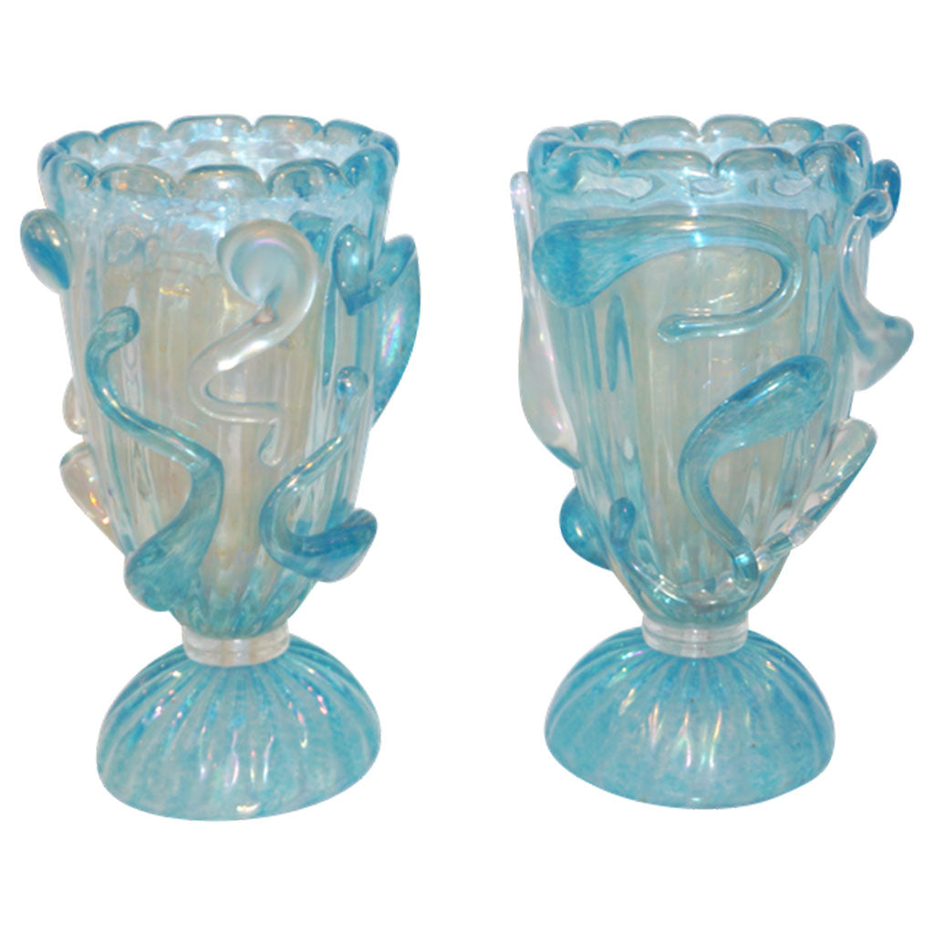 1970 Italian Modern Pair of Vintage Aquamarine Sea Blue Murano Glass Table Lamps