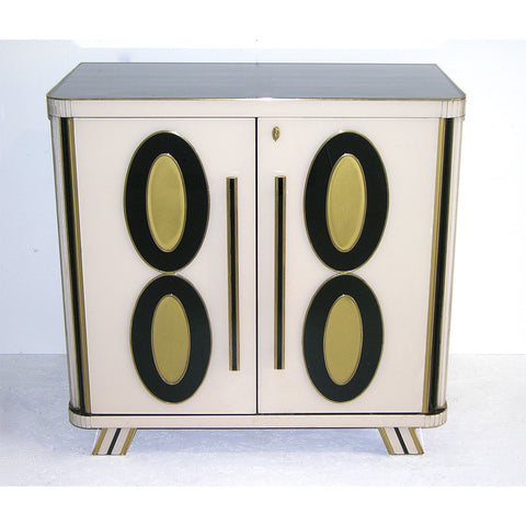 1970s Italian Art Deco Design Pair of Gold Black and White Cabinets or Sideboard - Cosulich Interiors & Antiques