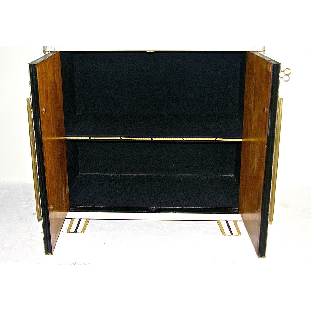 1970s Italian Art Deco Design Pair of Gold Black and White Cabinets or Side Tables