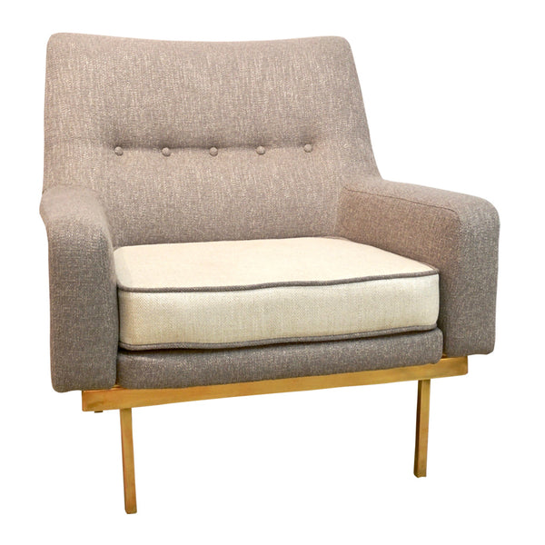 Arflex 1970s Italian Brass and Two-Tone Ivory Cream and Gray Cozy Armchair