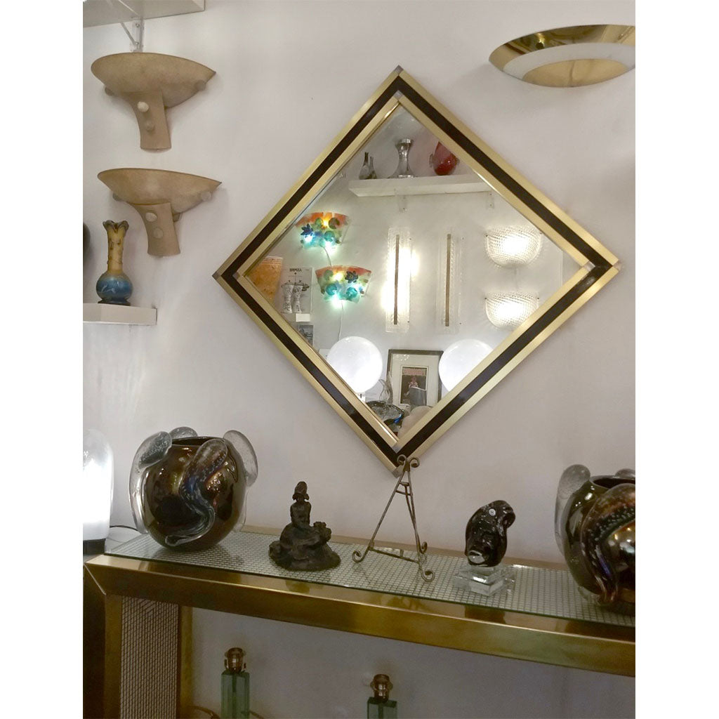 Mario Sabot Italian 1970s Modern Brass and Black Square Wall Mirror