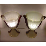 Barovier e Toso Grand Pair of Pearlized Murano Glass Lamps with Red Accents