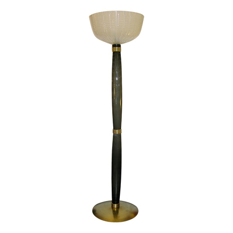 1950s Barovier Toso Olive Grey White Murano Glass Floor Lamp on Round Brass Base