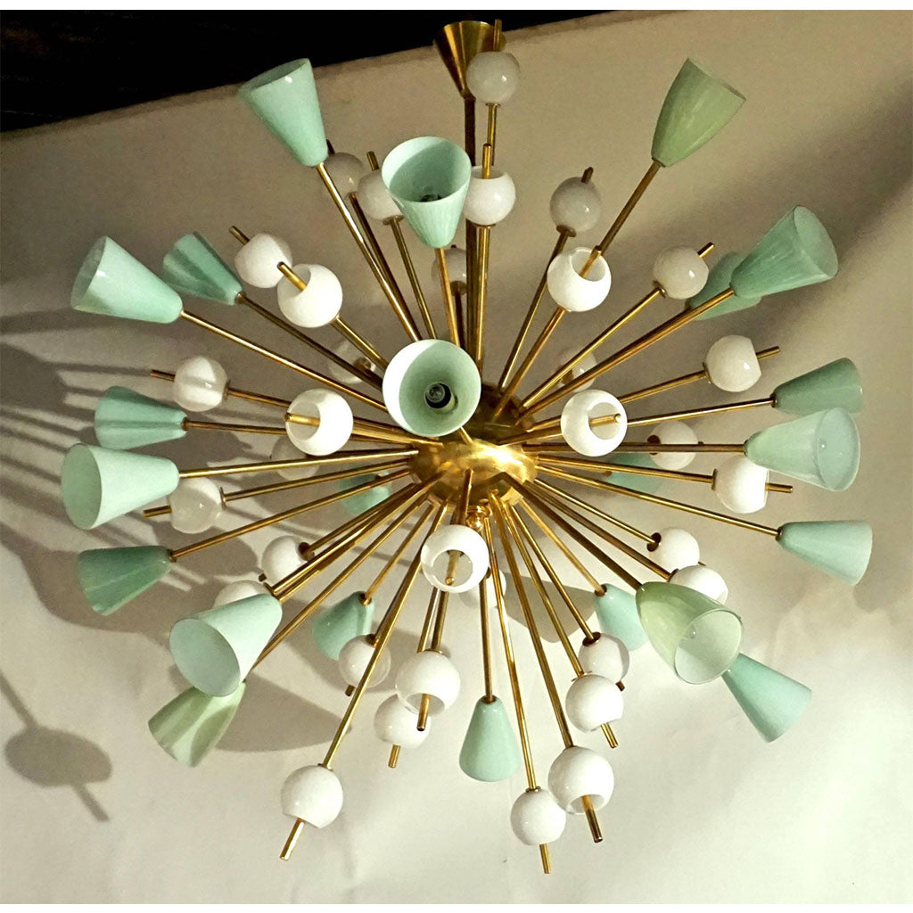 Italian White and Mint Green Murano Glass Sputnik Brass Chandelier - Cosulich Interiors & Antiques