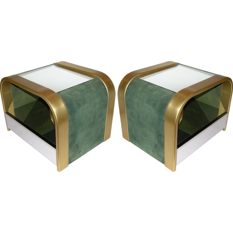 Romeo Rega 1970s Brass and Chrome Open Side Tables with Green Velvet Sides - Cosulich Interiors & Antiques
