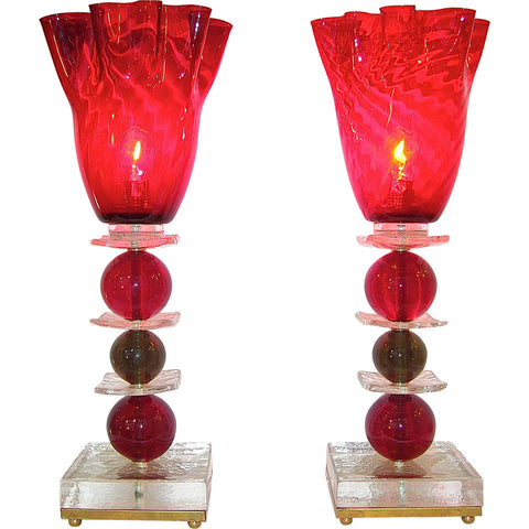 1970s Italian Pair of Red Murano Glass Lamps