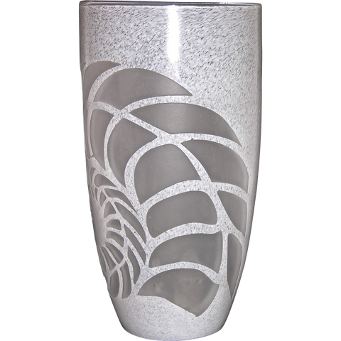 White Textured Murano Glass Vase with Fern Decor