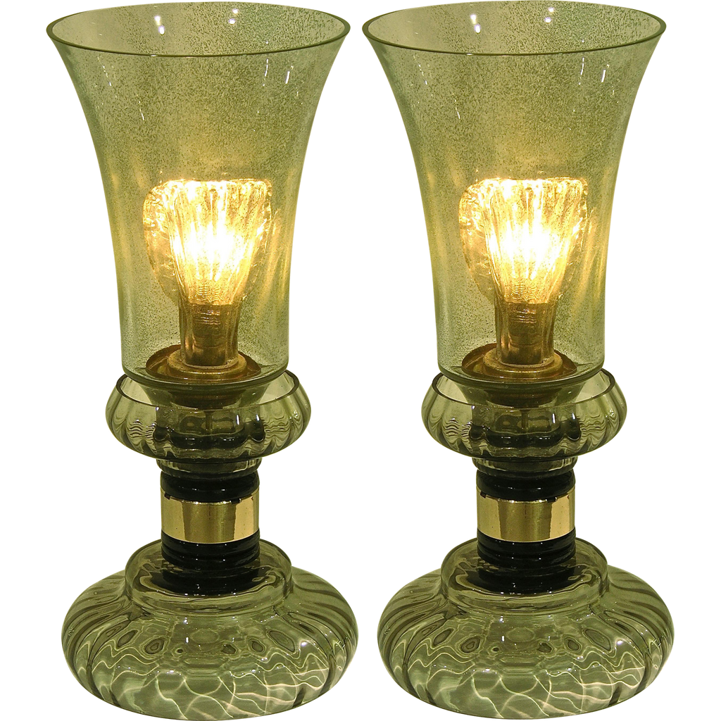 Cenedese 1970s Rare Vintage Pair of Smoked Green Murano Glass Lamps