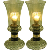Cenedese 1970s Rare Vintage Pair of Smoked Green Murano Glass Lamps - Cosulich Interiors & Antiques