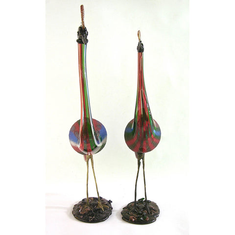 Vintage Italian Tall Pair of Jewel-Like Red Blue Green White Glass Crested Birds - Cosulich Interiors & Antiques