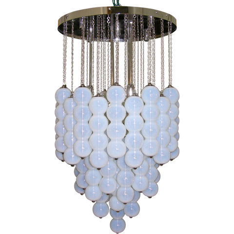 1980 Translucent White Murano Glass Pendant Chandelier
