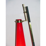 Stilnovo 1950s Vintage Italian Floor Lamp with Vistosi Red Murano Glass Shade
