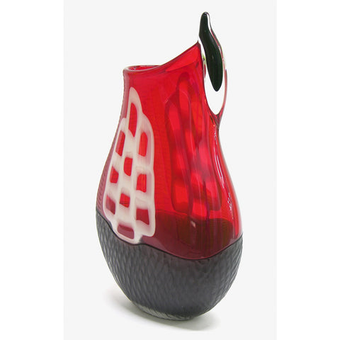 Alberto Dona 1980s Modern Red and Black Murano Glass Vase with White Murrine