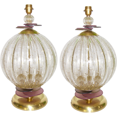 1980s Italian Pair of Round Gold Murano Glass Lamps with Purple and Grey Accents