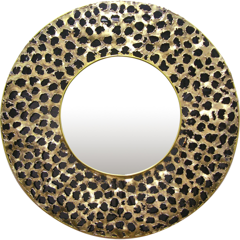 Contemporary Italian Brutalist Leopard Brass and Black Glass Modern Round Mirror - Cosulich Interiors & Antiques