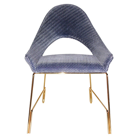Smania Italian Modern Prototype Brass and Blue Velvet Living Room Armchair