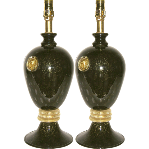 Seguso 1960s Italian Pair of Vintage Black and Gold Murano Glass Lamps - Cosulich Interiors & Antiques