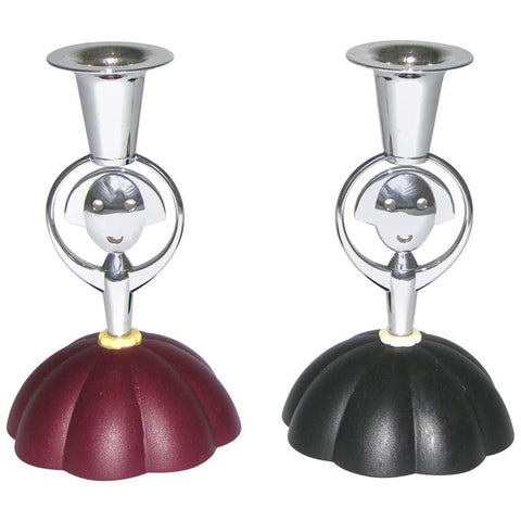 Alessi Alessandro Mendini 1999 Italian Pair of Red and Blue Chrome Candlesticks - Cosulich Interiors & Antiques
