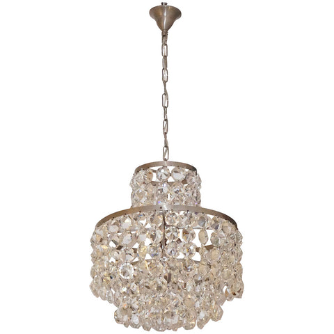 1950s Italian Vintage Satin Chrome and Clear Crystal Murano Glass Chandelier