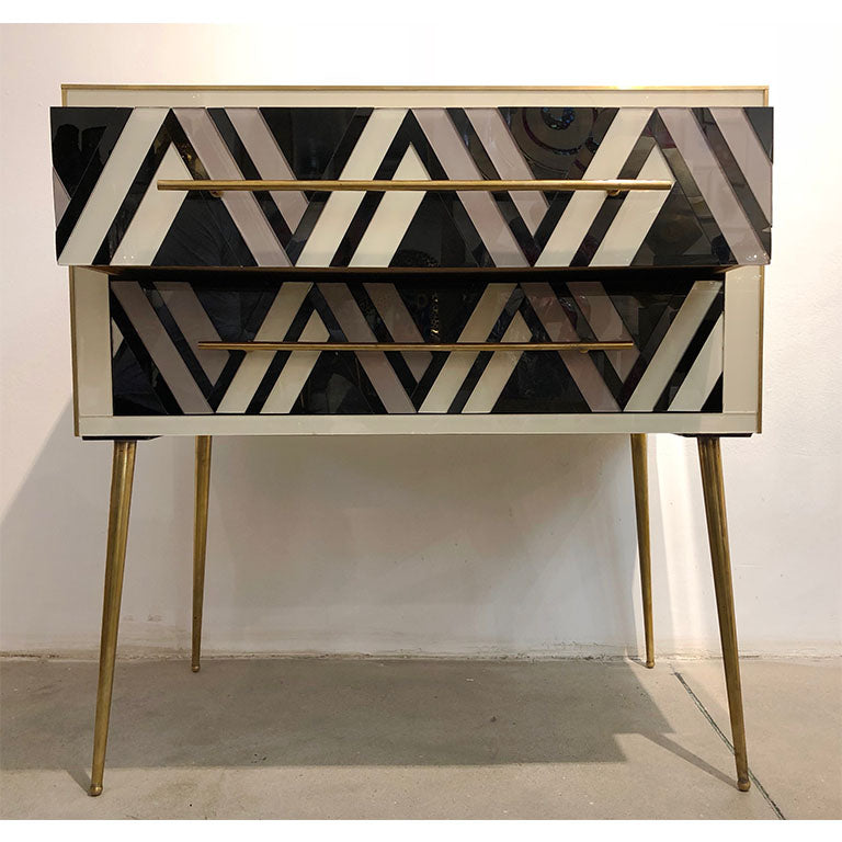 1990 Italian Graphic Pair of Geometric Black White Rose Gray Chests/ Side Tables - Cosulich Interiors & Antiques