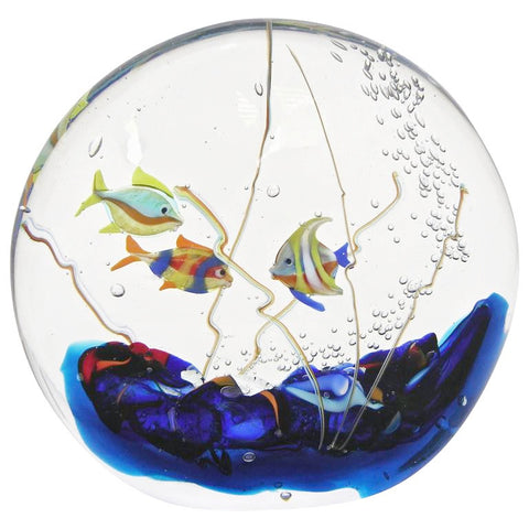 Alberto Dona 1980 Modern Blue Red Yellow Green Murano Glass Aquarium Sculpture