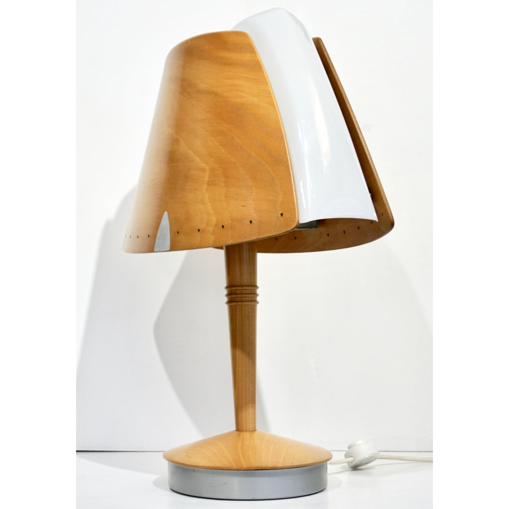 1970 French Vintage Birch Wood and Acrylic Table Lamp for Barcelona Hilton Hotel