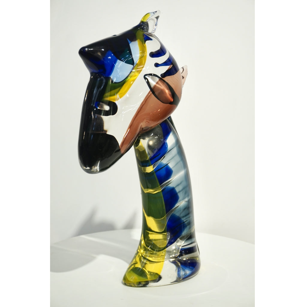 2018 Italian Picasso Style Yellow Blue Crystal Murano Glass Modernist Sculpture